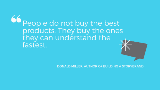"""a quote from Donald Miller: """"People do not buy the best products. They buy the ones they can understand the fastest."""""""