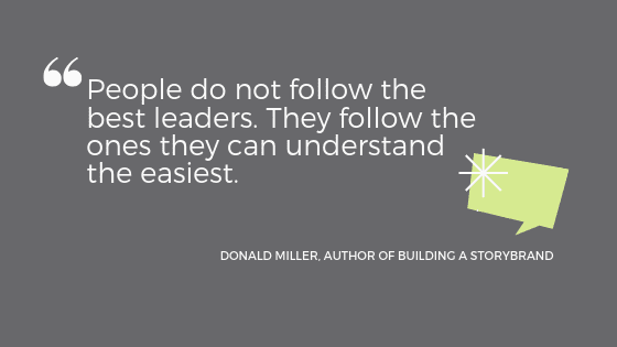 """a quote from Donald Miller: """"People do not follow the best leaders. They follow the ones they can understand the easiest."""""""