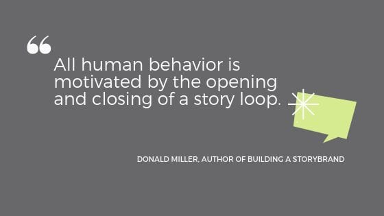 """a quote from Donald Miller: """"All human behavior is motivated by the opening and closing of a story loop."""""""