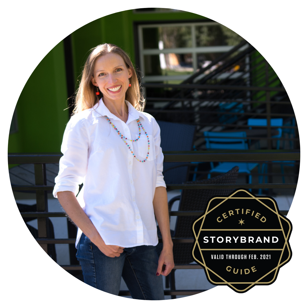 Sarah Cook with StoryBrand Certified Guide Badge